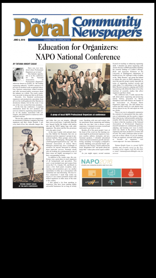Article about NAPO SF at Conferenc